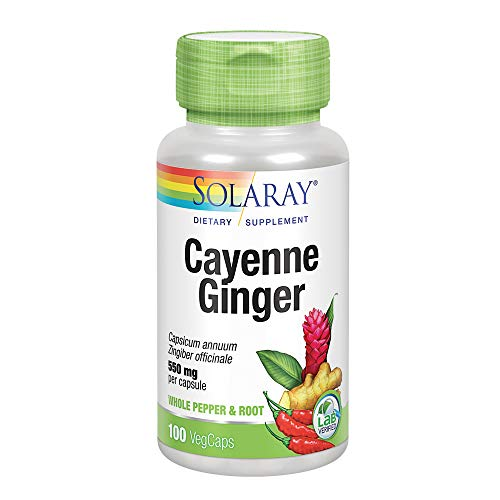 Solaray Cayenne and Ginger Capsules, 465 mg, 100 Count