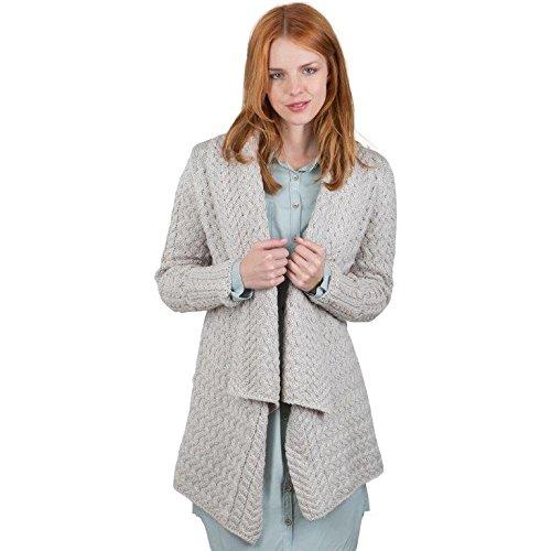 Glenross 100% Irish Merino Wool Ladies Aran Waterfall Sweater (Medium)