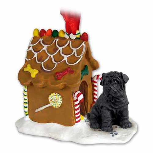 Shar Pei Gingerbread House Christmas Ornament Black - DELIGHTFUL!