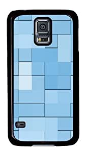 Blue squares PC Case Cover for Samsung S5 and Samsung Galaxy S5 Black
