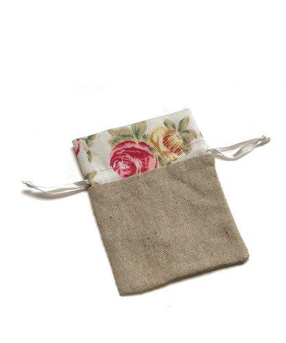 Wedding Star 9115 Mini Linen Drawstring Pouch with English Tea Rose Decorative Trim