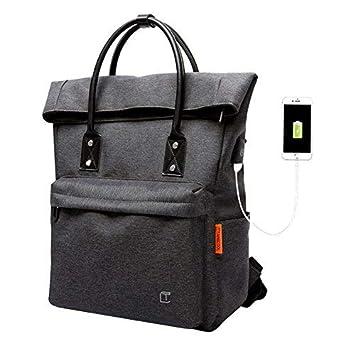 62378a4808 Sac à Dos Roll Top Scolaire Sac a Main Femme Ordinateur PC Portable avec  Port de