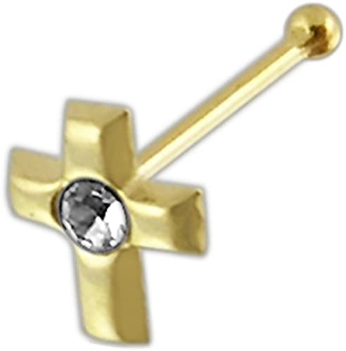 JewelryWeb Solid 14K Yellow White Gold 2-mm 20 Gauge Polished Cross Nose Stud