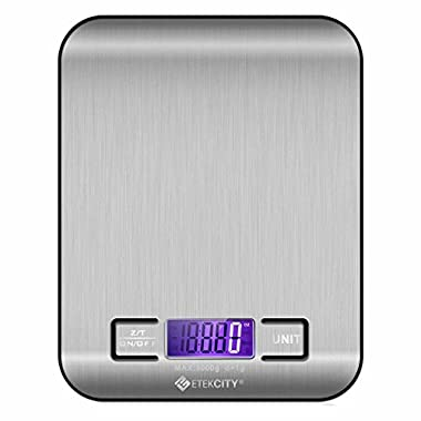 Etekcity Digital Multifunction Food Kitchen Scale, Stainless Steel,11lb 5kg, Silver (Batteries Included)