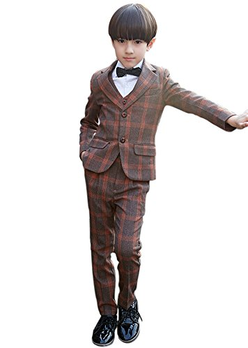 SK Studio Boys' 5 Pieces Dress Wedding Shirt Pants Vest Tie Suits Orange by SK Studio