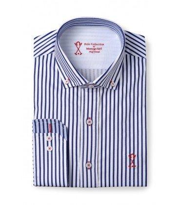 Camisa manga larga hombre SEMIENTALLADA rayas blancas y azules - Color - Azul Marino, Talla Letras - 5_XL: Amazon.es: Ropa y accesorios