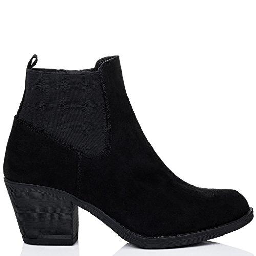 Talon À Bloc Noir Simili Chelsea Boots Femmes Bottines Spylovebuy Longsheng Daim 4qHwSc6