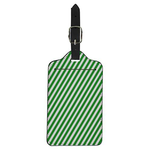 Pinbeam Luggage Tag Green Line Diagonal Stripe Pattern Abstract Candy Cane Suitcase Baggage ()