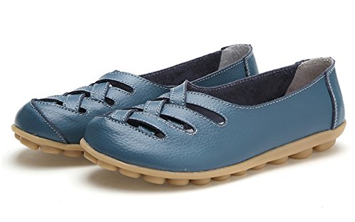 VenusCelia Damen Comfort Walking Casual Flacher Loafer Blau