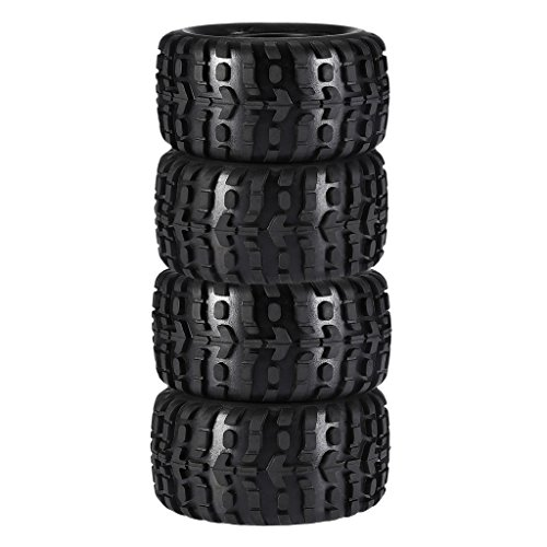 Fityle 2 Pair Rock Crawler Car Rubber Tires For 1/10 HPI Savage Flux XS Spare Parts
