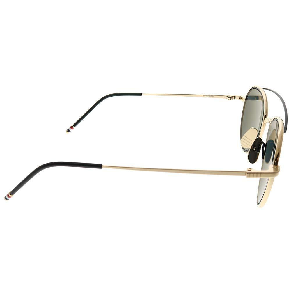 Sunglasses THOM BROWNE TB 803 A-BLK-BLK BlackRWBBlack Iron w//Dark GreyBlue Mirro