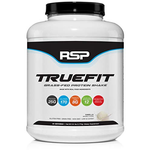 RSP TrueFit (4LB) - Grass-Fed Lean Meal Replacement Protein Shake, All Natural Whey Protein Powder with Fiber & Probiotics, Non-GMO, Gluten-Free & No Artificial Sweeteners (Vanilla)