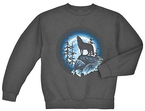 Wolf Moon Crewneck Sweatshirt Charcoal Gray ()
