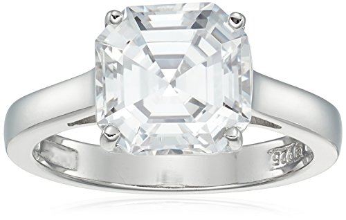 Solitaire Ring Prong Setting (Platinum-Plated Silver Asscher-Cut (3 cttw) Solitaire Ring made with Swarovski Zirconia, Size 8)