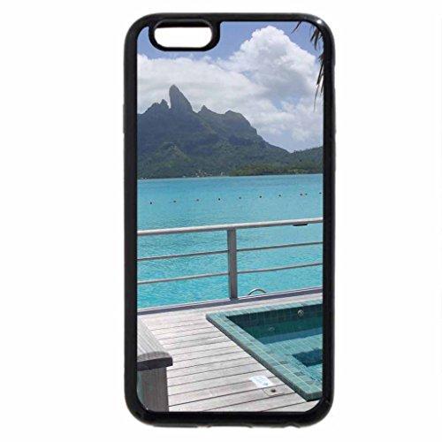 iPhone 6S Case, iPhone 6 Case (Black & White) - View from St Regis Water Villa Bora Bora
