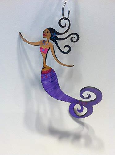Bush Ornament (Mermaid Ornament Hand Painted Steel Sculpture - with darker skin tone)