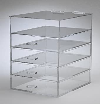 Clear Acrylic Cosmetic \u0026 Makeup Organizer with 4 Drawers \u0026 Flip Top
