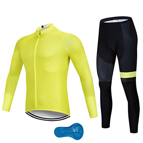 (Cycling Jersey Set Winter Thermal Fleece Long Sleeve Warm Yellow Cycling Jersey Suits Clothing Quick-Dry)