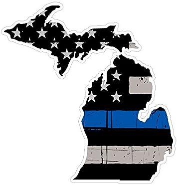 Thin Blue Line Decal State Michigan window vinyl sticker Various Size Distress