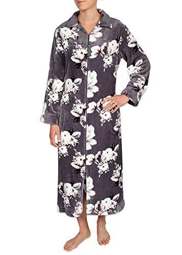 Miss Elaine Women's Fleece Long Robe - with a Breakaway Zipper and Two Side Pockets