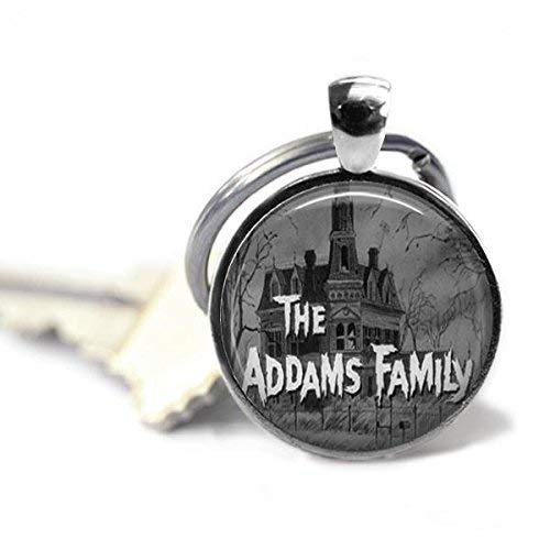The Addams Family 1 Inch Silver Plated Pendant Keychain -
