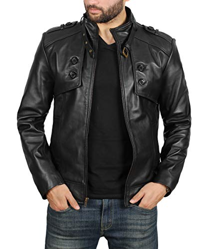 Black Leather Jacket Men - Genuine Lambskin Mens Leather Jacket | Button Pocket Black, L ()