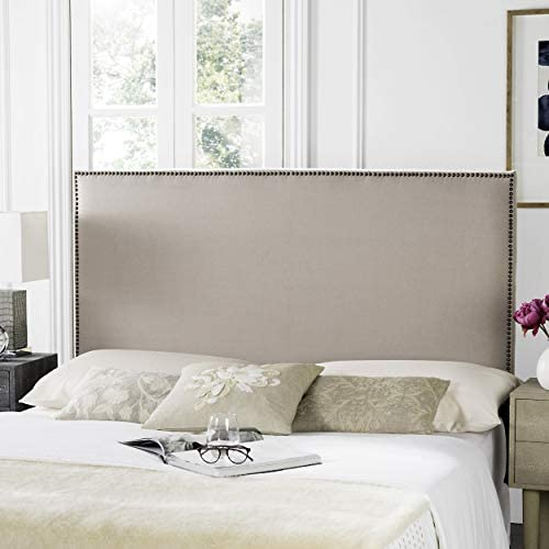 Safavieh Sydney Taupe Linen Upholstered Headboard – Brass Nailhead Queen