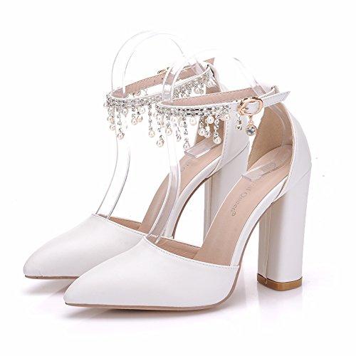 Quaste Damenschuhe Perlen LEIT Dünne Sandalen Dicken mit Schuhe White zgHWSpF