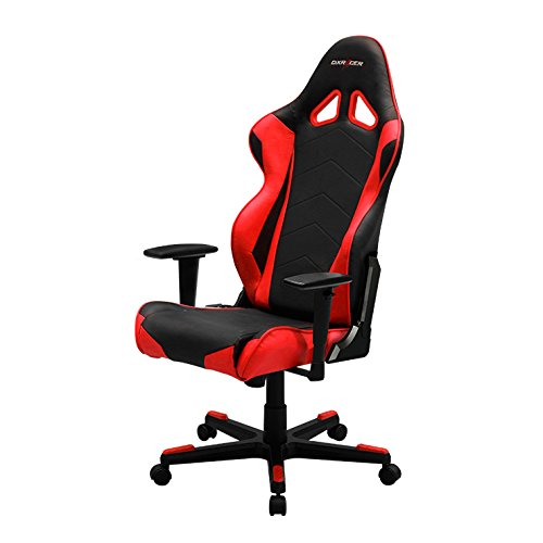DXRacer RE0/NR Black Red Racing Bucket Seat Office Chair Ergonomic with Lumbar Support