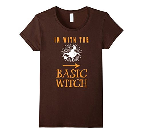 Womens With Basic Witch T Shirt - Halloween Couple Costume Shirt Small Brown