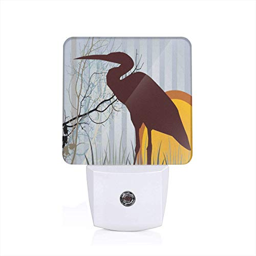 Colorful Plug in Night,Heron Silhouette Standing On Tall Grass with Circles and Vertical Stripes Background,Auto Sensor LED Dusk to Dawn Night Light Plug in Indoor for Childs Adults