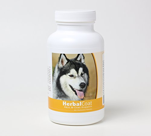 Healthy Breeds Dog Herbal Skin and Coat Support Chewable Supplement for Siberian Husky – Over 80 Breeds – All Natural Ingredients – Helps Shedding – 60 Treat ()