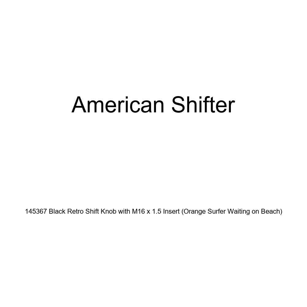 American Shifter 145367 Black Retro Shift Knob with M16 x 1.5 Insert Orange Surfer Waiting on Beach