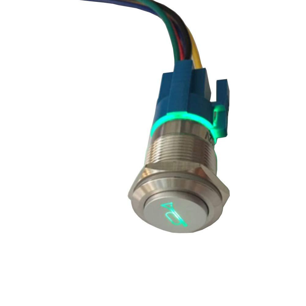 Mintice 19mm KFZ Kippschalter Wippschalter Druckschalter Schalter Drucktaster 12V Blau LED Licht Metall Lautsprecher Horn Steckdose Stecker