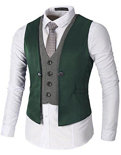 AOYOG Men's Business Suit Vests Waistcoat Slim Fit For Suit or (Vested Tuxedo Suit)