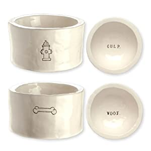 "Rae Dunn by Magenta Set of 2 ""Gulp"" and ""Woof"" Dog Bowls"