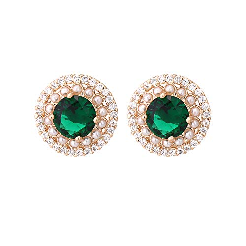 CZ Stud Earrings for Women - 14k Gold Plated Round Emerald Green Cubic Zirconia Crystal Encircled by Pearls and CZ Fashion Stud Earring for Party Prom Auguest Birthstone Earring Mother's Day Gift -