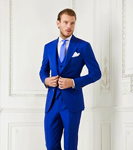 AK Beauty Men's 3 Piece Two Button Royal Blue Suit (Jacket Pants  ...