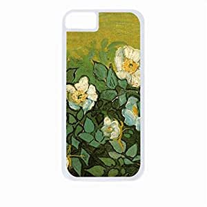 Vincent Van Gogh-Wild Roses - Case for the Apple Iphone 5C-Hard White Plastic Outer Shell with Inner Soft Black Rubber Lining