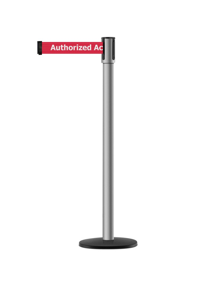 Tensabarrier - 890B-33-3P-3P-STD-NO-RAX-C - polished stainless post, 2'' wide, 7'6'' length red Authorized Access Only belt