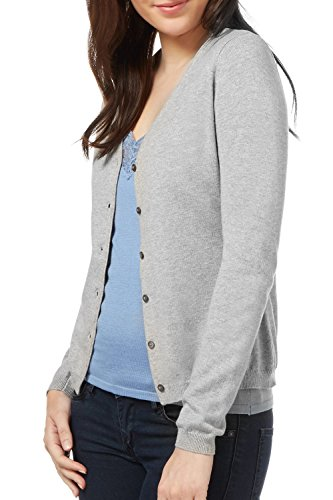 Detail V-neck Cardigan (WuhouPro Womens V-Neck Button Down Long Sleeve Knit Cardigan Sweater AZ 1100 Gray XL)