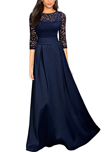Miusol Women's Retro Floral Lace Halter Ruched Wedding Maxi Dress blue (Halter Wedding Gown Dress)