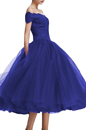 Lace Off Shoulder Ball Tea Party Tulle Dresses Gown Prom Blue Length Royal Bridal Formal Ladies D L XBqw1S1