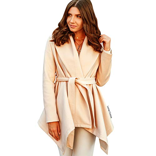 (Chicwish Women's Turn Down Shawl Collar Open Front Long Sleeve Cream Asymmetric Hemline Wool Blend Coat)