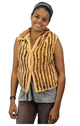 57672 New Multicolor Brown Knit Knitted Sheared Nutria Fur Vest Jacket Coat - Coat Fur Nutria