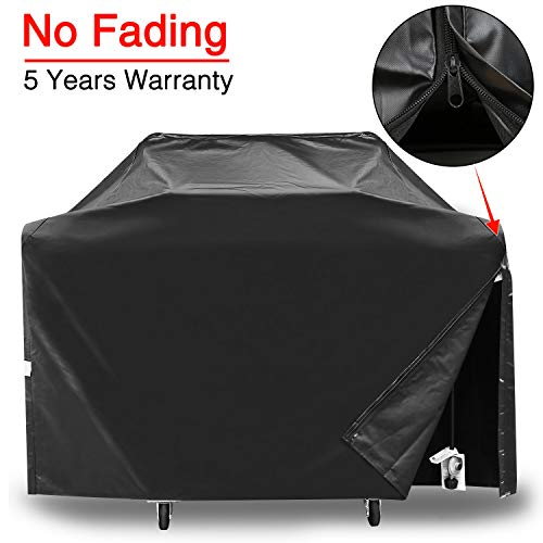 Patiassy 3 Layers Barbecue Gas Grill Cover 58 Inch 100% Waterproof BBQ Cover for Weber Genesis II 3 Burner and Genesis 300 Series Grills, Side Zippers for Easy Installation, 5 Years Warranty