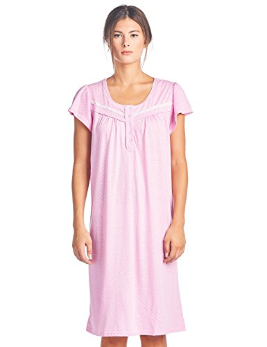 Casual Nights Women's Short Sleeve Polka Dot and Lace Nightgown - Pink - XX-Large