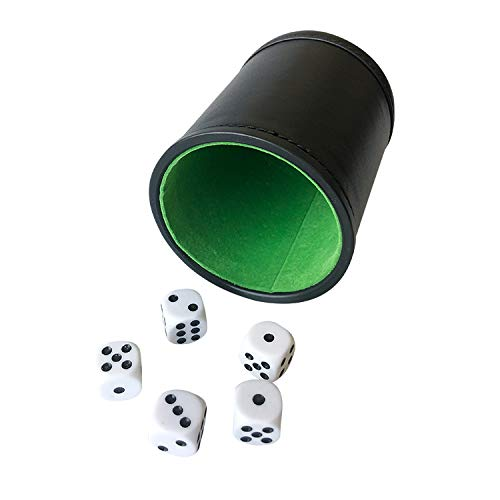 - YH Poker Felt Lined Professional Dice Cup with 5 Dice (Green)
