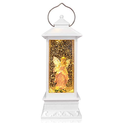 QTKJ USB and Battery Operated Cute Pink Angel with Wing Night Lamp Spinning Water Lantern Snow Globe Lantern for Desk, Room Decoration Gifts (White)