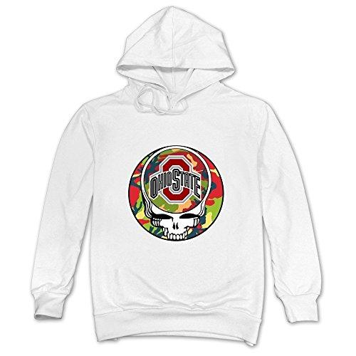 Hx Kingdom Mens Hooded Sweatshirt Grateful Dead Ohio State University White Size L